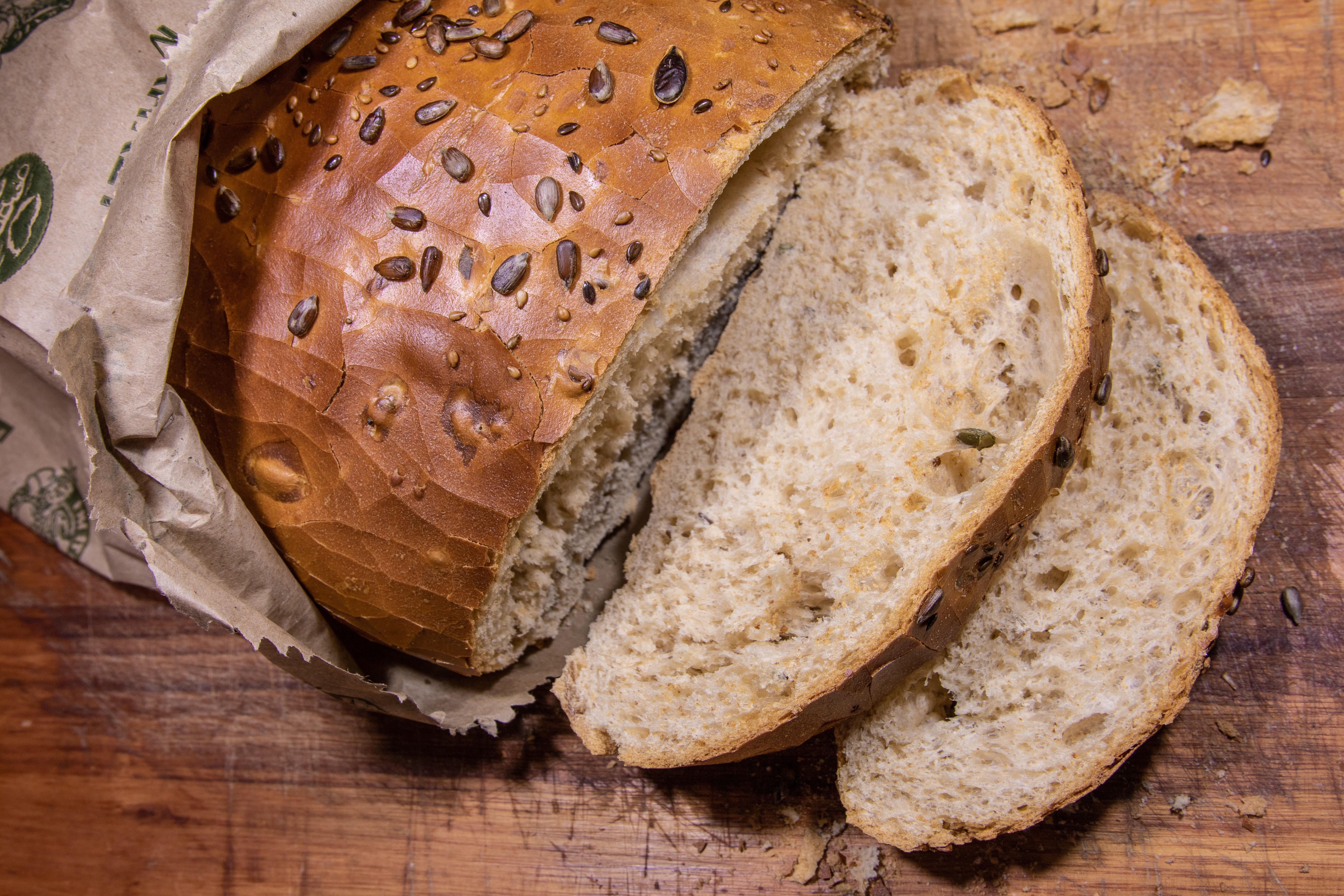 Slices of whole grain wheat bread